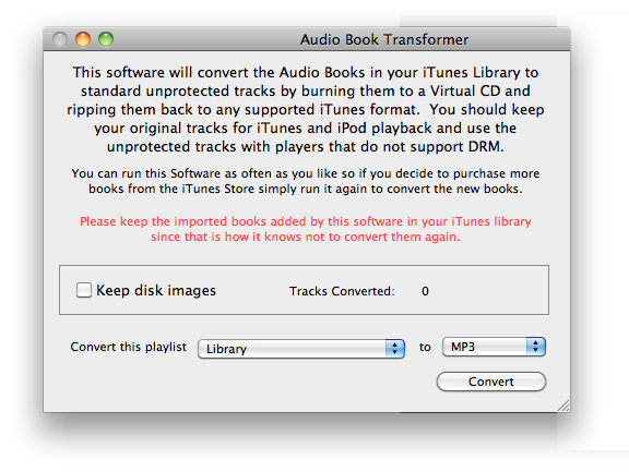 Automatically convert iTunes Audiobook to MP3, AAC, Apple